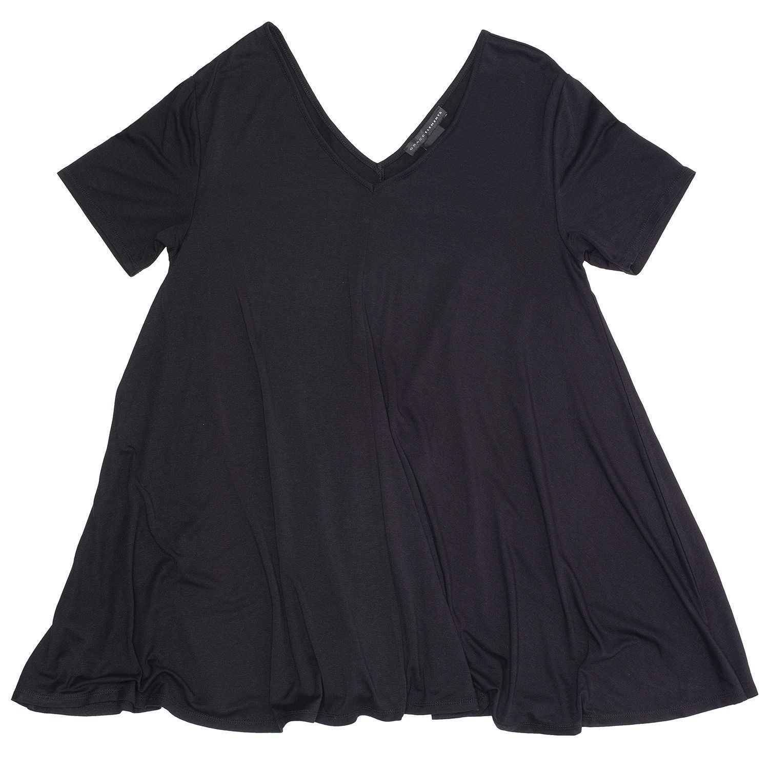 Grace Elements Flowy Swing Top BLACK  Women's Sz. S-M NWT MSPR$48