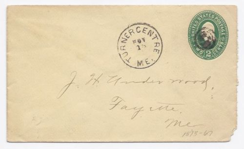 c1885 Turner Centre/Fayette ME Discontinued/Defunct (DPO) Postal Cover