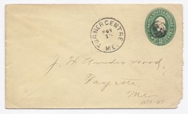 c1885 Turner Centre/Fayette ME Discontinued/Defunct (DPO) Postal Cover  - $9.95