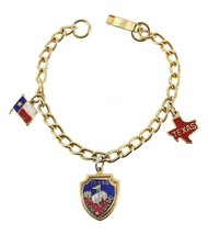VINTAGE STATE OF TEXAS ENAMEL LONE STAR CHARM BRACELET DON'T MESS W/ TEX... - $35.99