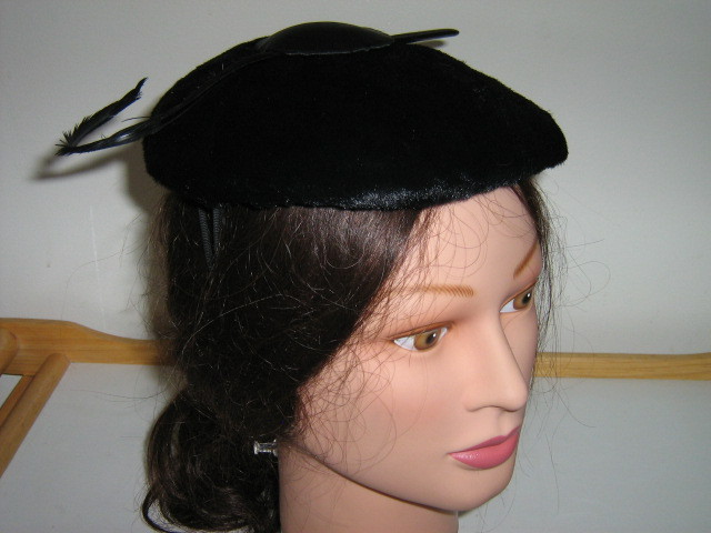 Vintage Ladies' Hats-Black Faux Fur with Feather, Brown Woven, Velvet Buttons