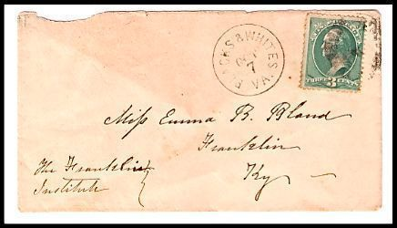 Primary image for c1882 Blacks & Whites VA Discontinued/Defunct (DPO) Postal Cover