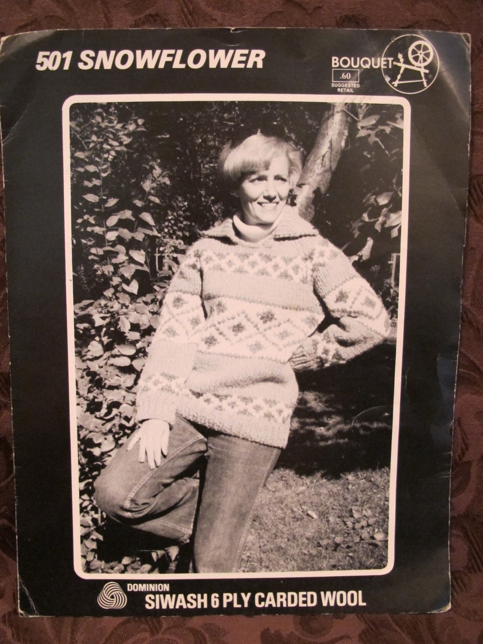 Vintage Knitting Patterns Siwash Pullover Sweater Snowflower Design ADULTS
