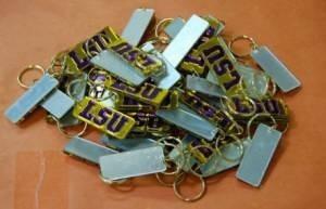 Wholesale Lot 50 LSU Yellow Purple Mirrored Key Chains