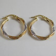18K YELLOW WHITE GOLD TWISTED EARRINGS WORKED HOOPS HOOP 25 MM MADE IN ITALY image 3