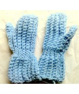 Child Size Mittens Blue Hand Crafted Crocheted Age 2 to 3  - $4.99