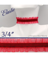 Red VELVET Choker 3/4 inch 19 mm wide Sheer Frill elastic Custom Size va... - $5.75