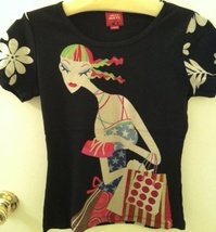 MISS SIXTY Made in Italy lovely Custo-lk print TOP shirt tee - $24.99