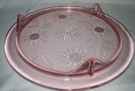 Vintage Pink Depression Glass 3 footed Cake Plate with Sunflower Pattern - $24.75