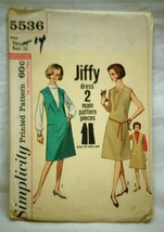 Old Vintage 1964 Simplicity Sewing Pattern 5536 Miss Size 16 Dress Jumpe... - $6.92