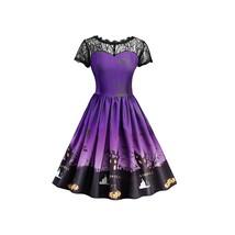 Halloween Vintage Lace Insert Pin Up Dress(PURPLE XL) - $22.22