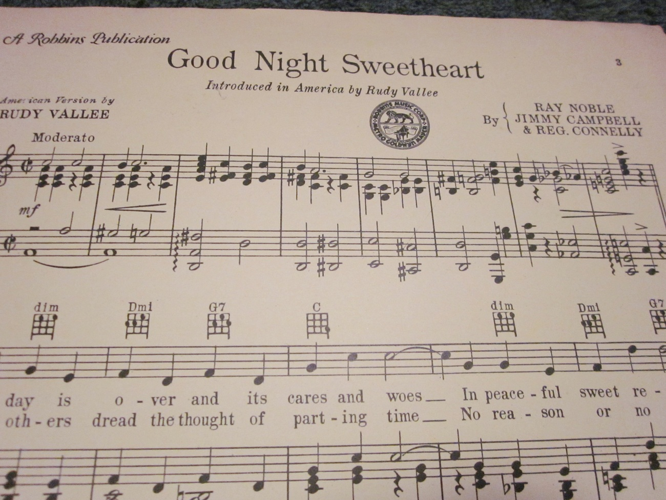 Sheet Music Good Night Sweetheart as done by Rudy Vallee 1931