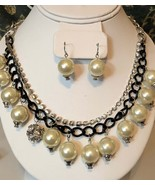 Two strand pearl ball necklace and dangle earring set black chain link a... - $15.99