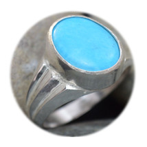 Genuine Turquoise Silver Ring For Men Mark Style 5 Carat Healing Sizes 4... - £27.11 GBP