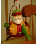 Angler Fisherman SANTA Christmas Ornament - $9.98