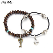 (key) Vintage Style Couple Lovers' Heart Charm Bracelet Jewelry Retro Me... - $16.00
