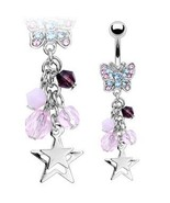 BELLY NAVEL RING PINK & PURPLE CRYSTAL WITH STAR #511 - $7.99