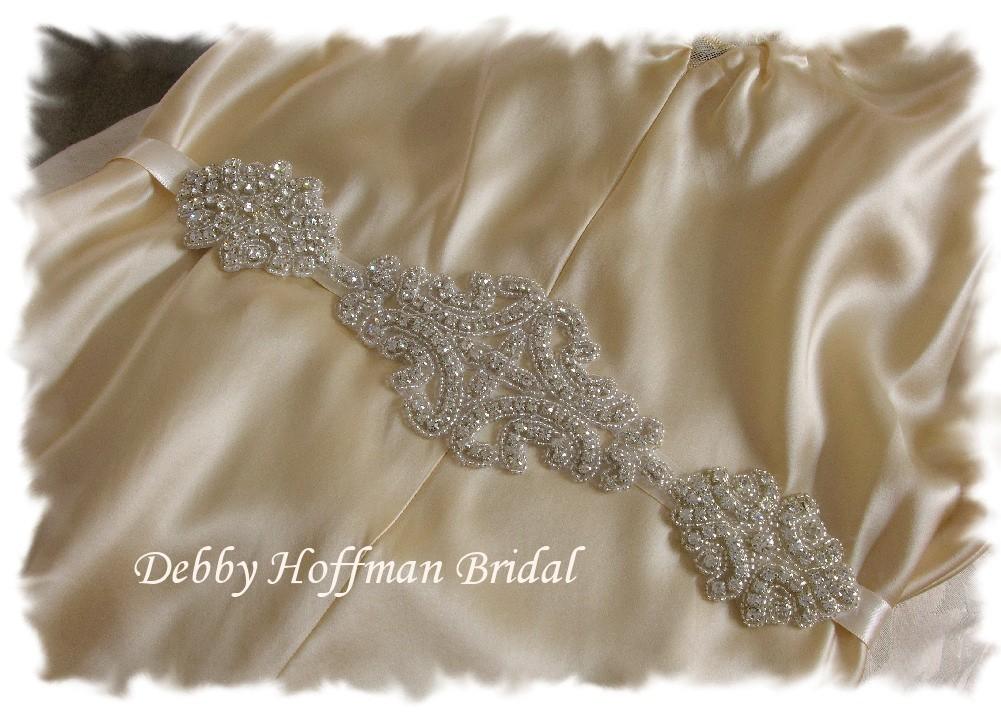 Beaded Rhinestone Crystal Bridal Sash No. 1101S-1171-12, Wedding Dress Belt
