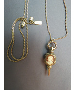 1928 Necklace Double Sided Cameo Pendant Gold T... - $28.70