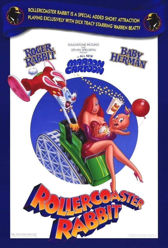 1990 ROLLERCOASTER RABBIT Roger POSTER 27x40 Original Double-Sided Movie Short