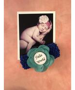 Monthly Milestones 12 Month Blue Headband set w/ Flower for Newborn Baby... - $25.00