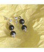 swarovski crystal 9mm pearls in sterling silver earrings - $22.00