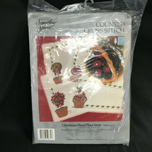 Something Special Counted Cross Stitch Christmas Floral Place Mats 50674 NIP - $28.49