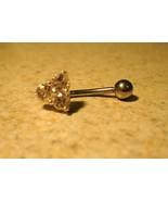 BELLY NAVEL RING FANCY PINK CRYSTAL FLOWER #527 - $7.99