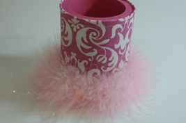 Damask Can Coozie Canholder Pink Boa Feather Trim Handmade - $7.00