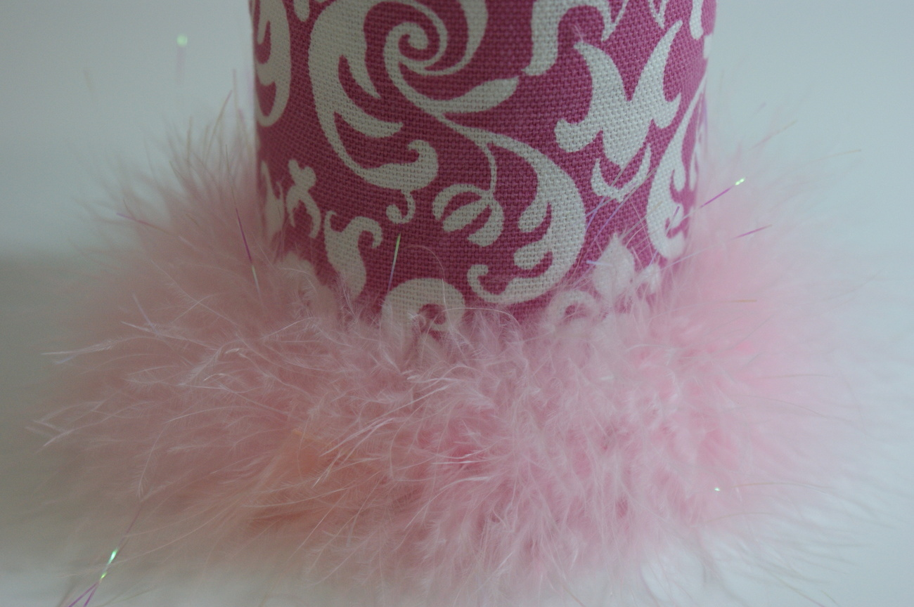 Damask Can Coozie Canholder Pink Boa Feather Trim Handmade