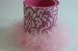 Pink Damask Can Coozie Canholder Boa Feather Trim Handmade - $7.00