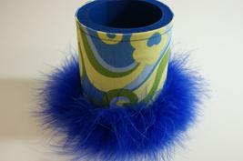 Retro Mod Can Coozie Canholder Blue Boa Feather Trim Handmade - $7.00
