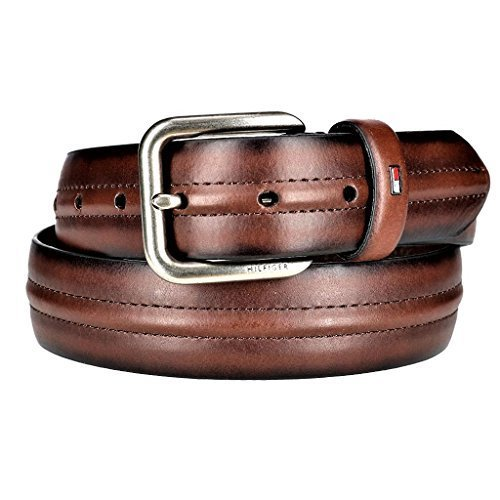 Tommy Hilfiger Men's Center Ridge Detail Casual Belt, 44, Brown