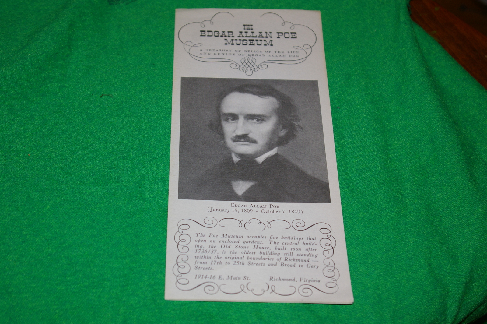 Primary image for Old Brochure Edgar Allan Poe Museum Richmond Virginia American Poet & Author