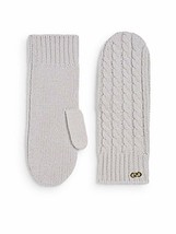 COLE HAAN Cable Knit WOOL Winter MITTENS Gold Hardware GREY Free Shipping - $79.97