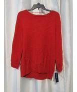 NWT Karen Scott Button Shoulder Long Sleeve Red Sweater S M L Org $46.50 - $3.99