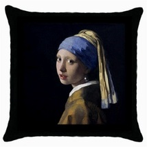 Throw Pillow Case Decorative Cushion Cover J. Vermeer Girl With Earring ... - $16.99