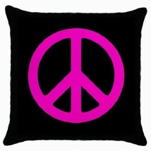 Throw Pillow Case Decorative Cushion Cover Pink Peace Sign Gift model 30399396 - $16.99