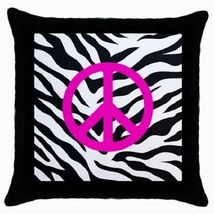 Throw Pillow Case Decorative Cushion Cover Pink Peace Sign Gift model 36566493 - $16.99