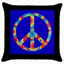 Throw Pillow Case Decorative Cushion Cover Tye Day Peace Sign On Blue 36568630 - $16.99