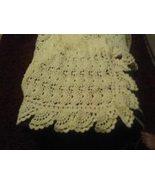 Hand crocheted ivory fan design afghan/lapghan - $70.00