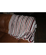 Hand crocheted red/white/black afghan/lapghan - $50.00