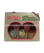 XOXO* 3pc Trio Set HUGS & KISSES Nail Polish BLUE+RED+SILVER SHIMMER New... - $6.30