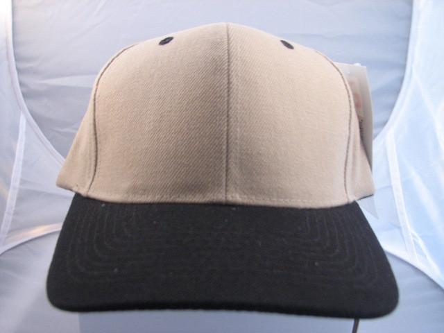 Brushed Plain Baseball Caps  Khaki/Black