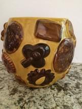 """Vintage Los Angeles Potteries """"Cookies All Over"""" Amber Cookie Jar No Lid... - $17.42"""