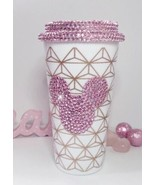 Reusable Hand Embellished Travel Mug Cup. Pink Mickey Mouse Design. Blin... - $20.75