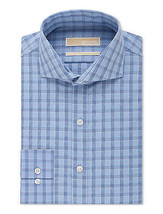 New Mens Michael Kors Non Iron Long Sleeve Button Front Blue Cotton Plaid Shirt - $49.99