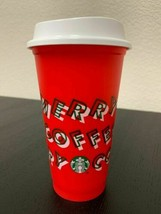 LIMITED Starbucks 2019 Holiday Reusable Red Hot Cup Grande 16 oz Plastic Coffee - $13.28