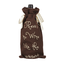 Burlap Chocolate Wine Bag - Soft Cotton - Chocolate/Creme - Country - VHC Brands