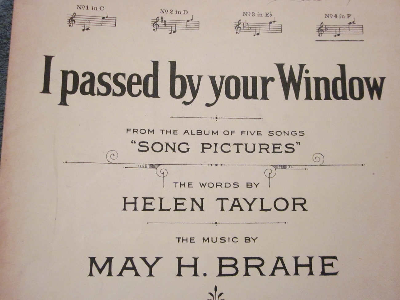 Sheet Music I Passed By Your Window by Taylor and Brahe 1916